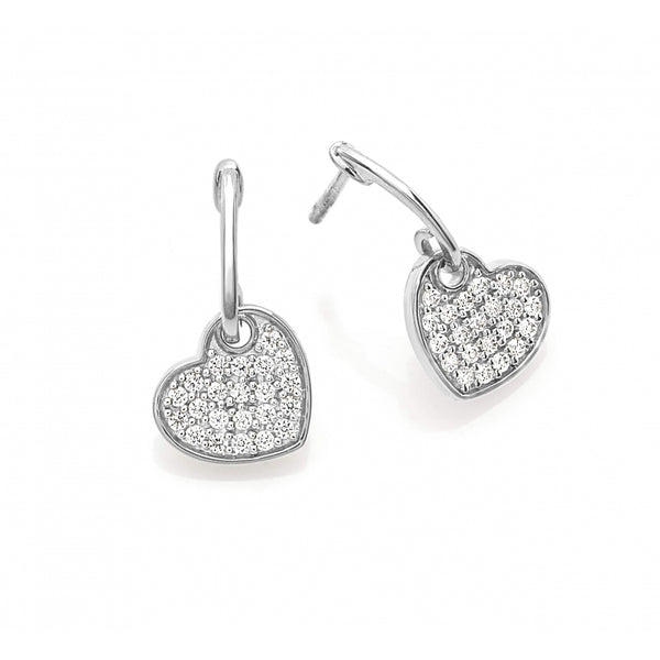Diamond Pavé Shaking Heart Ear Studs in 14 Karat White Gold