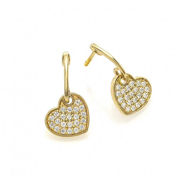 Diamond Pavé Shaking Heart Ear Studs in 14 Karat Gold
