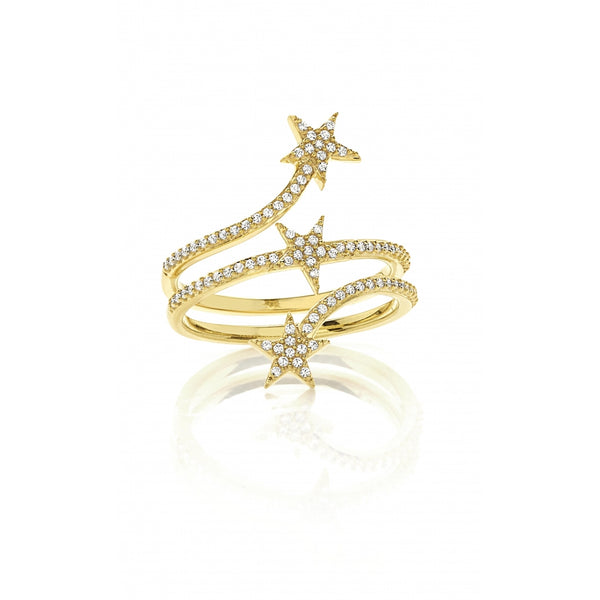 3 Stars Diamond Pavé opulent Ring in 14 Karat Yellow Gold