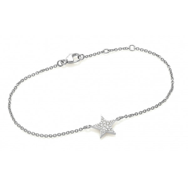 Diamond Pavé Star Bracelet in 14 Karat White Gold