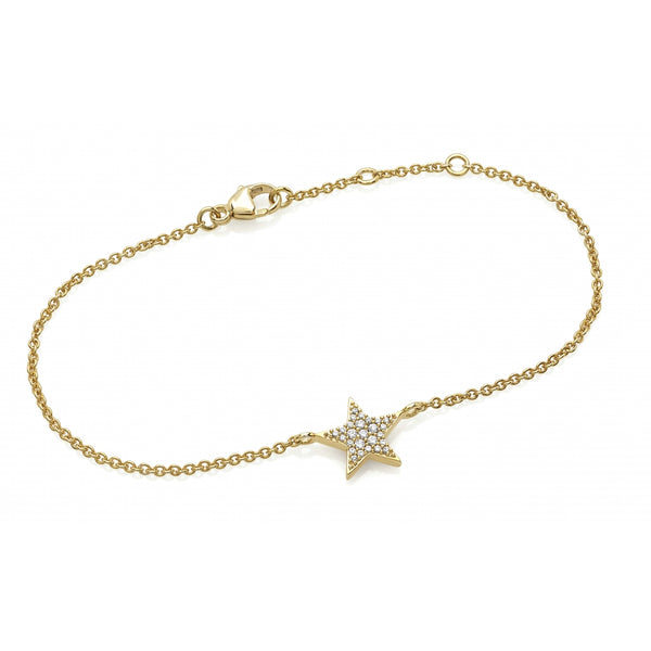 Diamond Pavé Star Bracelet in 14 Karat Gold