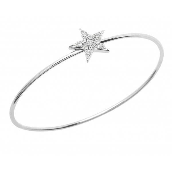 Diamond Pavé Stars Bangle in 14 Karat White Gold