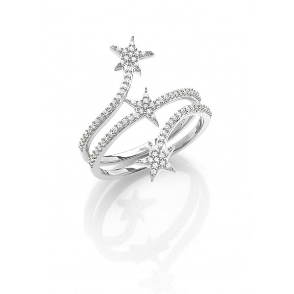 3 Stars Diamond Pavé opulent Ring in 14 Karat White Gold