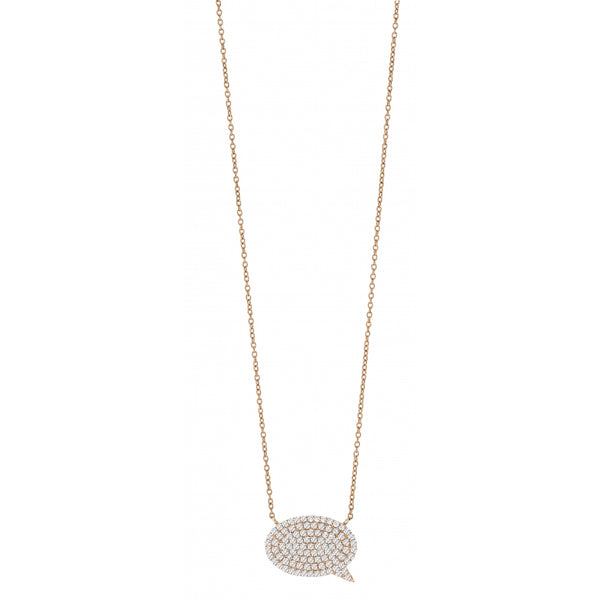 9 Karat Rosé Gold Speech Bubble shaped Necklace with Diamond Pavé