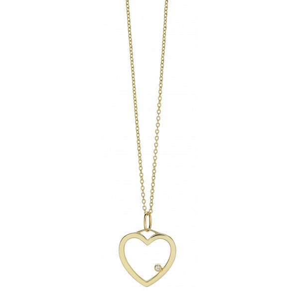 One Diamond Heart Pendant Necklace in 14 Karat Yellow Gold