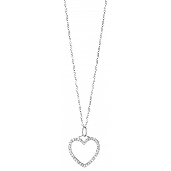 Diamond Pavé Heart Pendant Necklace in 14 Karat Gold