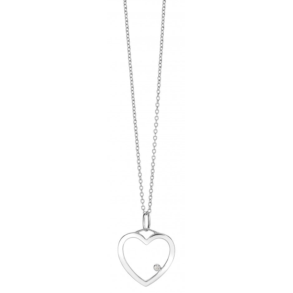 HEART One Diamond Pendant Necklace