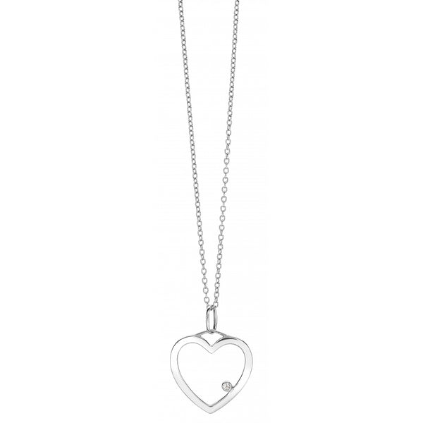 One Diamond Heart Pendant Necklace in 14 Karat White Gold