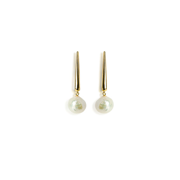 925 Sterling Silver Gold Plated Earrings with Baroque Pearls