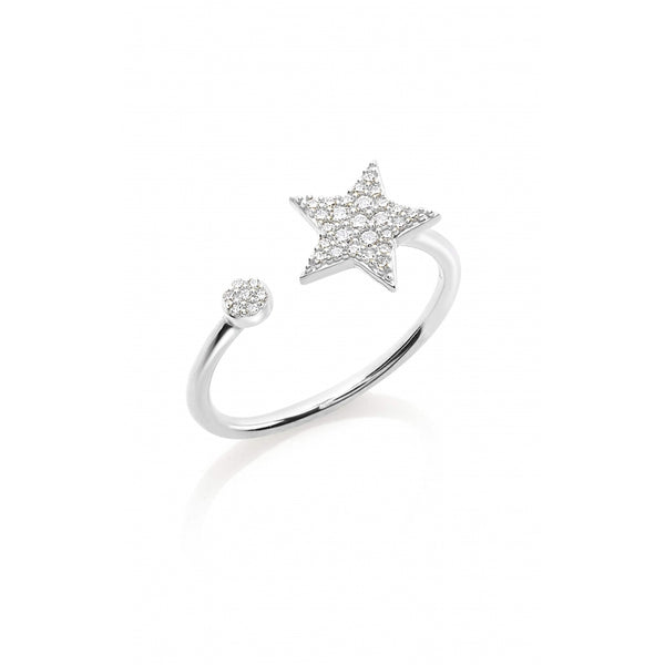 Diamond Star 14 Karat White Gold Open Ring