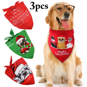 JUSTDOLIFE 3PCS Christmas Dog Bandana Pet Bandana Xmas Pet Kerchief Scarf Set Christmas Dog Bandanas Xmas Triangle Bibs Scarf Accessories Cats and Dogs