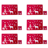 Christmas Placemat,JUSTDOLIFE Red Christmas Table Mats Christmas Placemat Set Winter Holiday Christmas Placemat Washable Table Place Mat Sets of 6 plus 6 Cup Mats for kids-Elk, Christmas Tree, Snowflake Printed