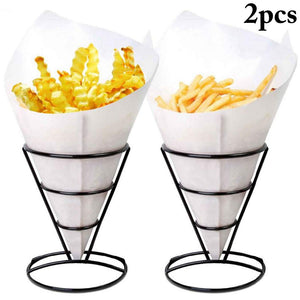 French Fry Holder, JUSTDOLIFE 2 Pack French Fry Stand Cone French Fry Chips Cone Holders Stainless Steel Snack Fried Chicken Display Rack Fries Foods Stand Holder for Christmas Parties / Backyard Picnics / Outdoor Events