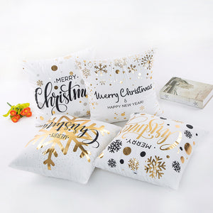 2PCS 45x45cm Cotton Linen Merry Christmas Cover Cushion Christmas Decor for Home