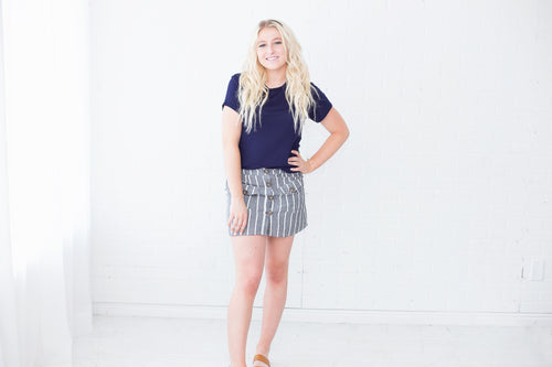 Sophia Striped Button Skirt