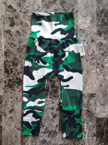 Green & Black Camouflage ~ Miniloones grow with me baby pants *