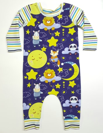 Moon and Stars Romper, Infant Pull On Romper, Stretch Romper
