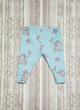 Load image into Gallery viewer, Sweet little leggings for baby in sizes Newborn, 3 mo, & 6/9 mo.  Cute baby elephants and butterflies on light blue makes a beautiful Baby Shower Gift.