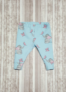 Sweet little leggings for baby in sizes Newborn, 3 mo, & 6/9 mo.  Cute baby elephants and butterflies on light blue makes a beautiful Baby Shower Gift.