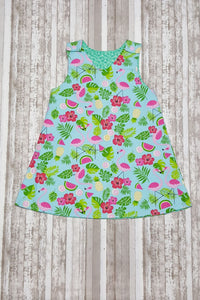 Bright and Fun Tropical Flamingo themed baby girl dress in size 12 months.  This adorable infant dress is perfect for summer events. *