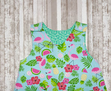 Load image into Gallery viewer, Bright and Fun Tropical Flamingo themed baby girl dress in size 12 months.  This adorable infant dress is perfect for summer events. *