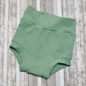 Cute little Bummies, diaper covers for infants and toddlers in sizes NB through 3T.  Sage Green.