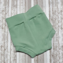 Load image into Gallery viewer, Cute little Bummies, diaper covers for infants and toddlers in sizes NB through 3T.  Sage Green.