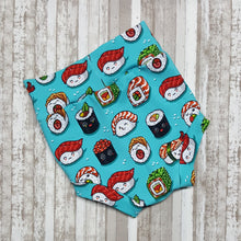 Load image into Gallery viewer, Cute little Bummies, diaper covers for infants and toddlers in sizes 0/3 months through 18/24 months.  Sushi foodie themed