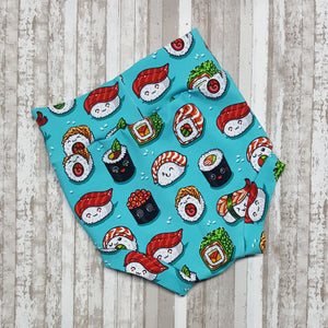 Cute little Bummies, diaper covers for infants and toddlers in sizes 0/3 months through 18/24 months.  Sushi foodie themed