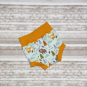 Bear, fox, teepee on these cute little wilderness themed bummies, diaper covers for infants and toddlers in sizes NB through 3T.