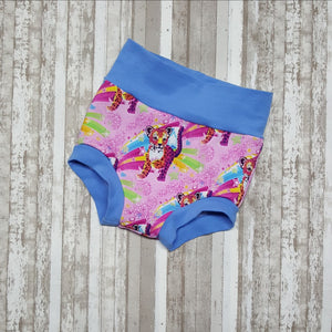 Cute little Bummies, diaper covers for infants and toddlers in sizes 0/3 months through 18/24 months. Lisa Frank inspired.