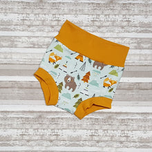 Load image into Gallery viewer, Bear, fox, teepee on these cute little wilderness themed bummies, diaper covers for infants and toddlers in sizes NB through 3T.