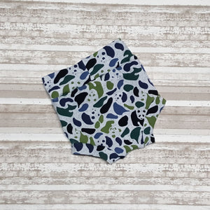 Camouflage Panda bears of on these cute little Bummies, diaper covers for infants and toddlers in sizes NB through 3T.