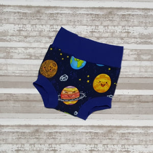 Planets & moons on these cute space themed little Bummies, diaper covers for infants and toddlers in sizes NB through 3T.