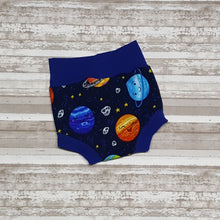 Load image into Gallery viewer, Planets & moons on these cute space themed little Bummies, diaper covers for infants and toddlers in sizes NB through 3T.