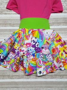 Lisa Frank inspired twirl skirt, Skater Skirt, Circle Skirt, for infants, toddlers, and girls. *
