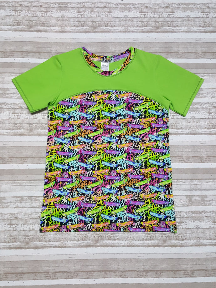 Tween Grafitti Art shirt, short sleeve unisex top with skateboard designs in rainbow colors. Youth Sizes 8, 10, 12, 14. Ready to ship gift.