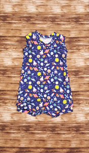 Outer space themed tank style summer romper. Infant and toddler sizes available.