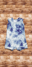 Load image into Gallery viewer, Blue Grey galaxy tie dye print tank style summer romper. Infant and toddler sizes available.