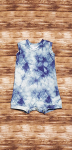 Blue Grey galaxy tie dye print tank style summer romper. Infant and toddler sizes available.