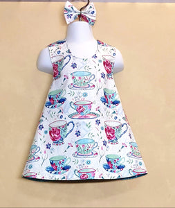 Tea Cups and flowers Reversible dress in Infant and Toddler Sizes *