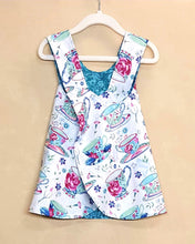 Load image into Gallery viewer, Tea Cups and flowers Reversible dress in Infant and Toddler Sizes *