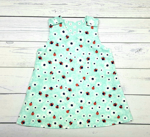 Lady Bugs and Flowers Reversible Dress