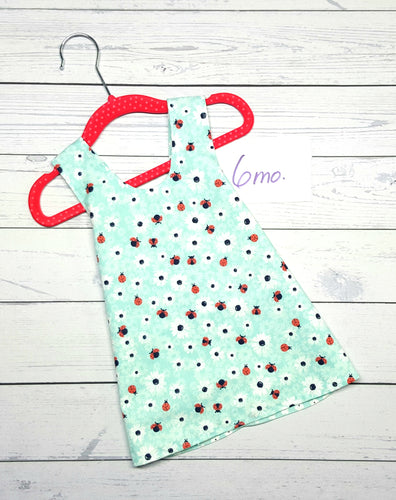Lady Bugs and Flowers, Reversible Infant & Toddler Dress