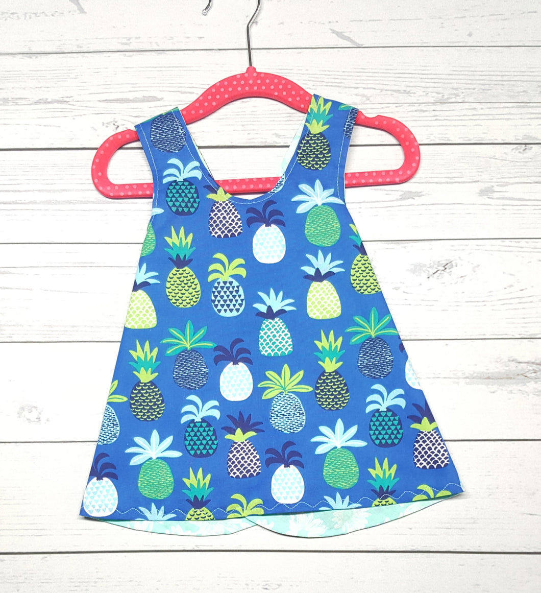 Pineapple and Floral, Reversible Infant & Toddler Dress