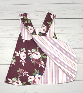 Pinafore Dress ~ Floral and Striped Reversible ~ multiple infant sizes