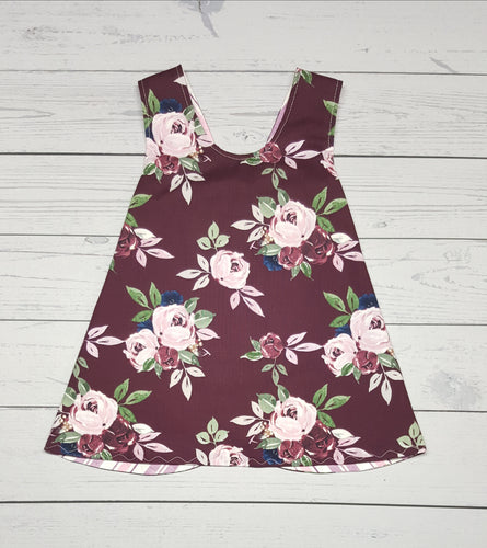 Pinafore Dress ~ Floral and Striped Reversible ~ multiple girls sizes