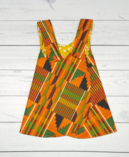 Load image into Gallery viewer, Kente Print Girls Reversible Pinafore Dress *