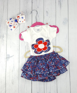 Infant body suit with matching skirt 2 piece sets, Patriotic sets