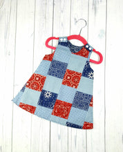 Load image into Gallery viewer, Girls Reversible Patriotic Dress, Patchwork dress, Infant Dress, Toddler Dress